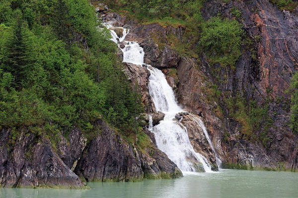 Juneau Photograph - Waterfall In Tracy Arm Fjord by Richard Cummins