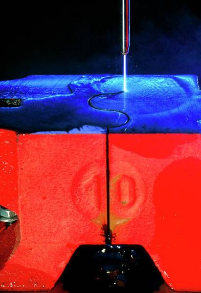 Anvil Photograph - Waterjet Cutting Through A Steel Anvil by Pascal Goetgheluck/science Photo Library