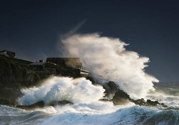 Wall Art - Photograph - Wave Crashing Into Shore And Splashing by Ben Welsh