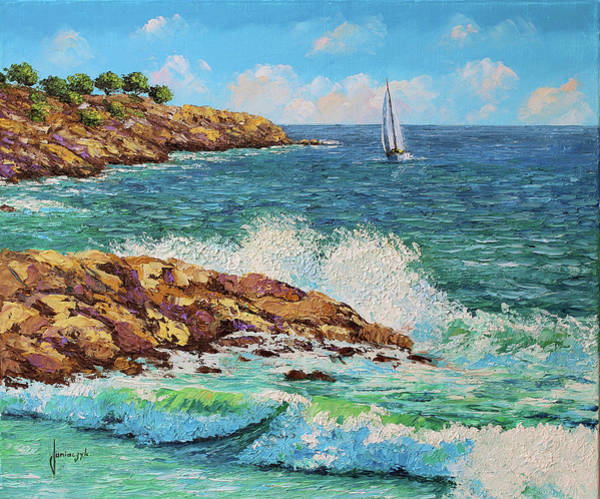 Wall Art - Painting - Waves And Rocks by MGL Meiklejohn Graphics Licensing