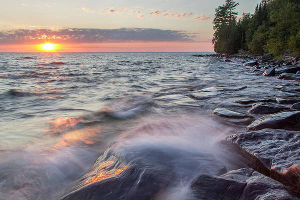 Bayfield Wall Art - Photograph - Waves Crash At Sunset On Devils Island by Chuck Haney