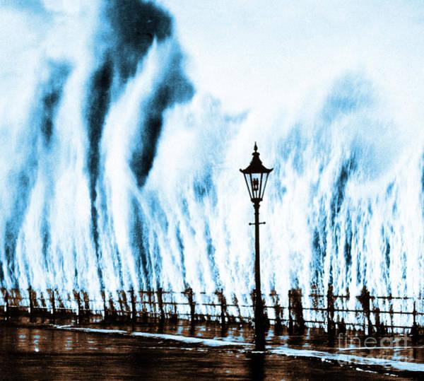 Wall Art - Photograph - Waves Smashing Seawall 1938 by Science Source