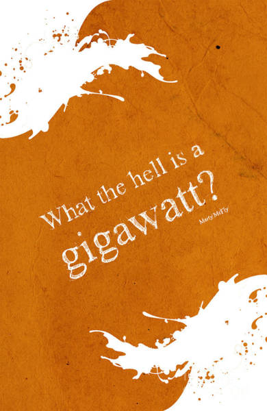 Back Drawing - What The Hell Is A Gigawatt  Back To The Future Quote by Drawspots Illustrations