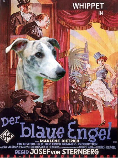 Engels Painting - Whippet Art - Der Blaue Engel Movie Poster by Sandra Sij