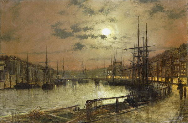 Moon Shine Wall Art - Painting - Whitby by John Atkinson Grimshaw
