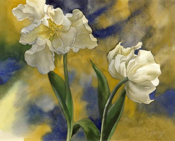 Painting - White Tulips With Blue by Alfred Ng