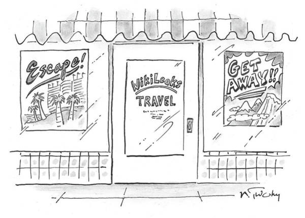 Wall Art - Drawing - Wikileaks Travel by Mike Twohy