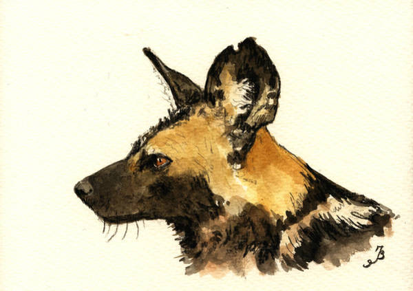 Wall Art - Painting - Wild Dog by Juan  Bosco