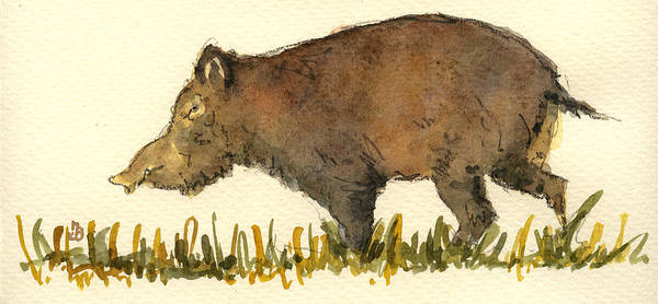 Pig Painting - Wild Pig by Juan  Bosco