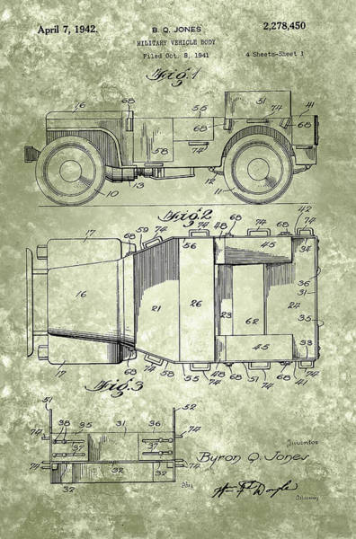 Painting - Willys Military Jeep Patent From 1942 by Adam Asar