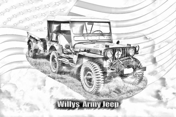 Weaponry Digital Art - Willys World War Two Army Jeep by Keith Webber Jr