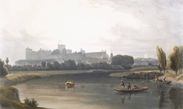 Wall Art - Drawing - Windsor Castle From The River Thames by William Daniell