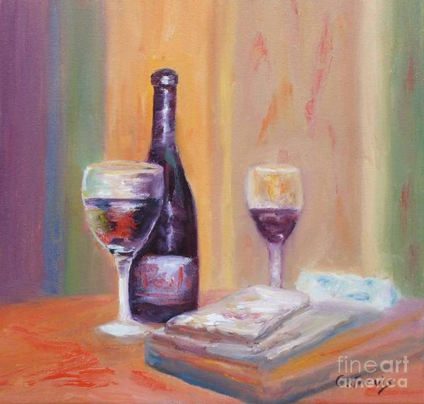 Glass Cutting Painting - Wine And Blue Cheese by Carolyn Jarvis
