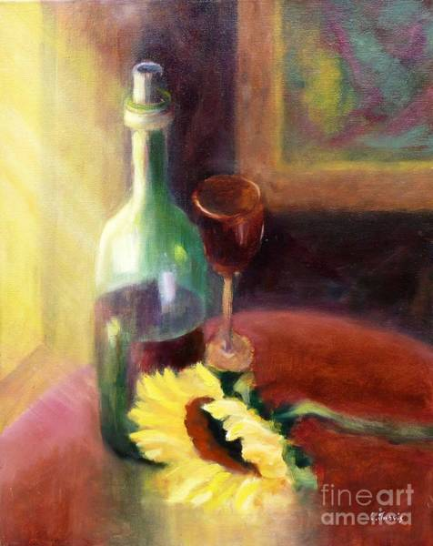 Painting - Wine And Sunflower by Carolyn Jarvis