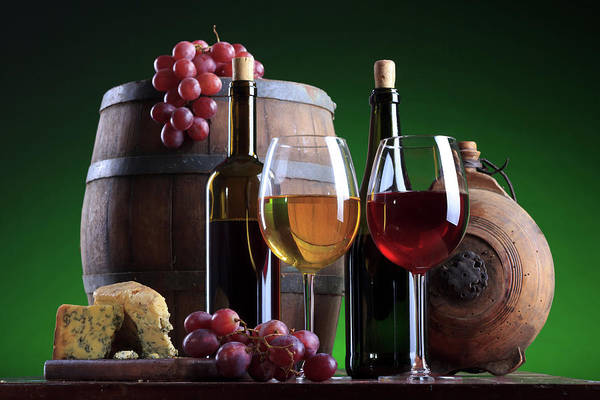 Bottle Green Photograph - Wine Composition by Valentinrussanov