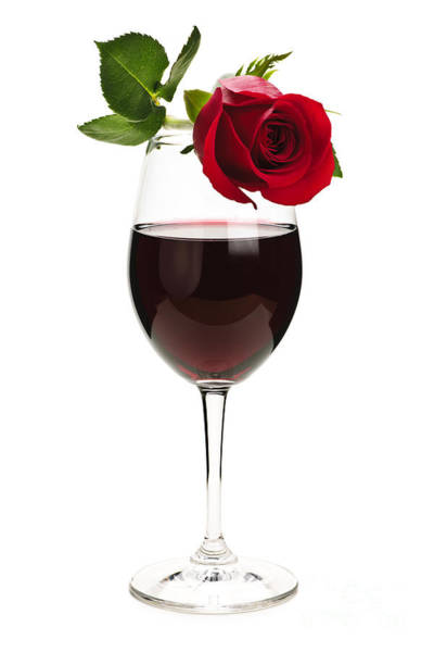 Wine Tasting Photograph - Wine With Red Rose by Elena Elisseeva