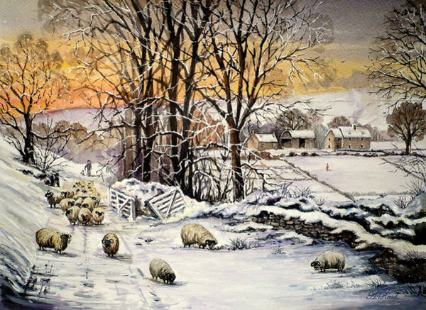 Barn Snow Painting - Winter In The Ribble Valley  by Andrew Read