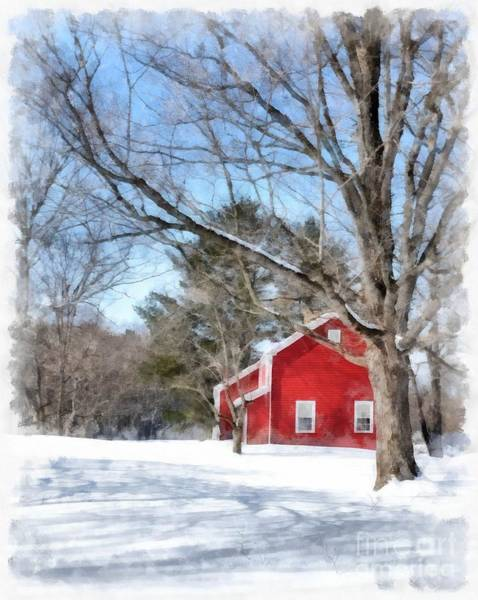 Barn Snow Painting - Winter In Vermont by Edward Fielding