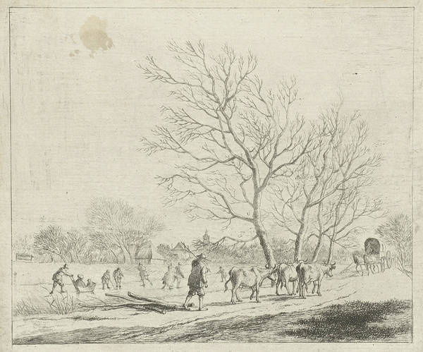 Wall Art - Drawing - Winter Landscape With Cows And Skaters, Johannes Janson by Johannes Janson