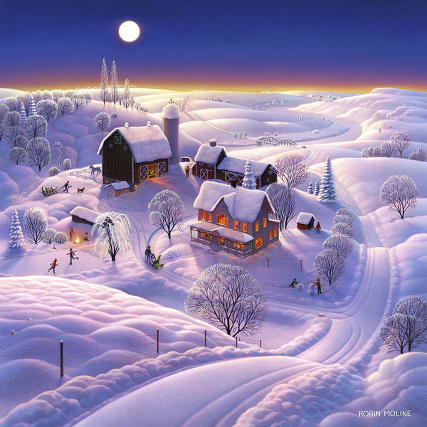 Wall Art - Painting - Winter On The Farm by Robin Moline