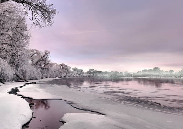 Photograph - Winter River Sunrise by Leland D Howard