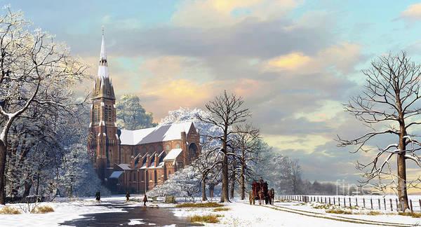 Church Digital Art - Winter Scene by Dominic Davison
