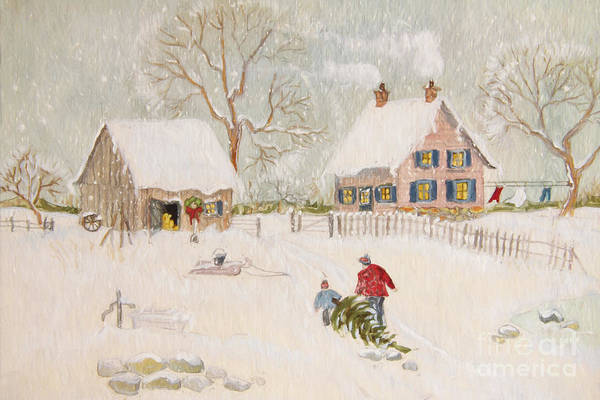 Wall Art - Photograph - Winter Scene Of A Farm With People/ Digitally Altered by Sandra Cunningham