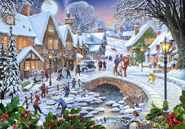 Wall Art - Painting - Winter Village Stream by MGL Meiklejohn Graphics Licensing