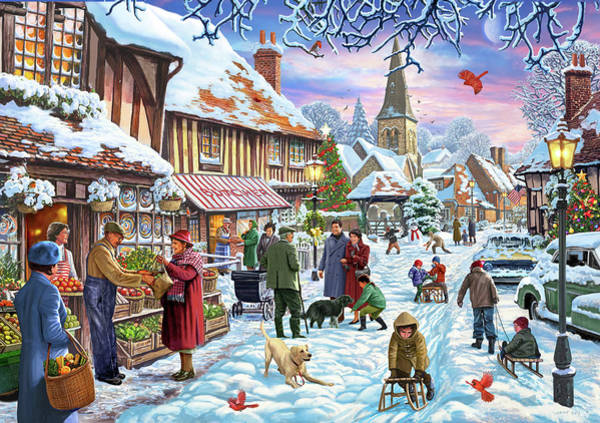 Wall Art - Painting - Winter Village Usa by MGL Meiklejohn Graphics Licensing