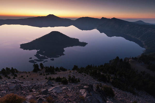 Crater Lake National Park Photograph - Wizard Island At Dawn, Crater Lake by William Sutton