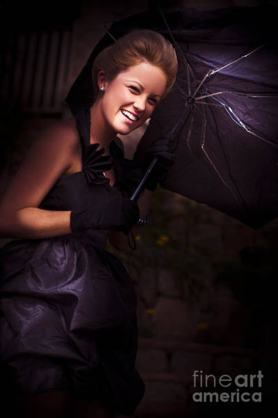Dim Photograph - Woman And Broken Umbrella by Jorgo Photography - Wall Art Gallery