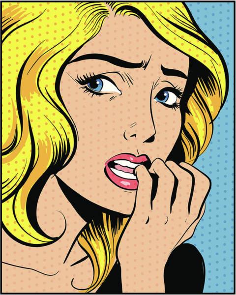 Digital Image Digital Art - Woman Biting Fingernails by Mcmillan Digital Art