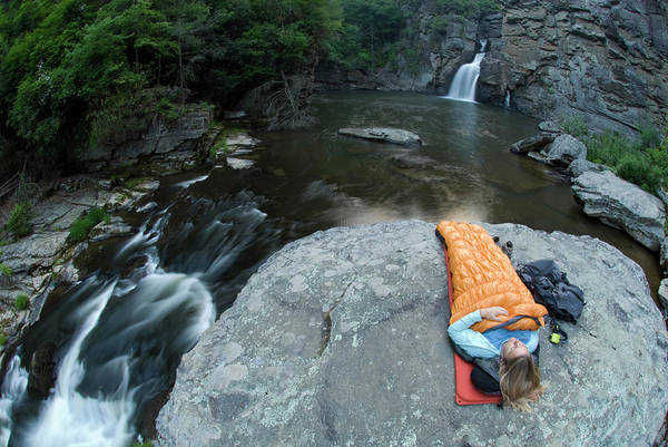 Linville Falls Wall Art - Photograph - Woman Camping On Rock Below Linville by Kennan Harvey
