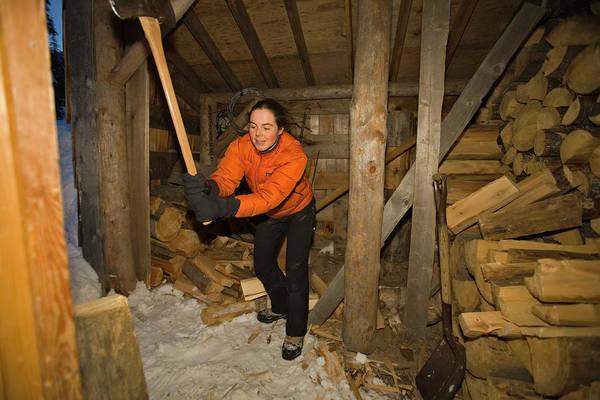 Jasmin Photograph - Woman Chopping Wood, Canada by Whit Richardson