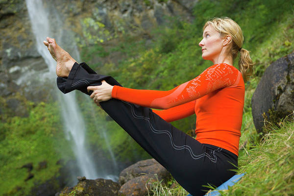 Wall Art - Photograph - Woman Does Yoga In Front Of Waterfall by Ty Milford