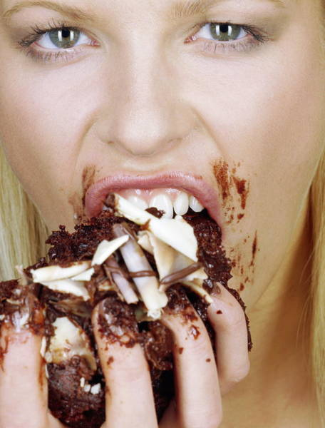Anorexia Photograph - Woman Eating Cake by Jason Kelvin/science Photo Libray