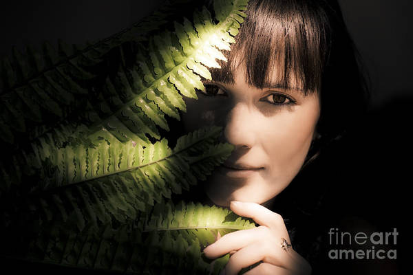 Dim Photograph - Woman Hiding Behind Fern Leaf by Jorgo Photography - Wall Art Gallery