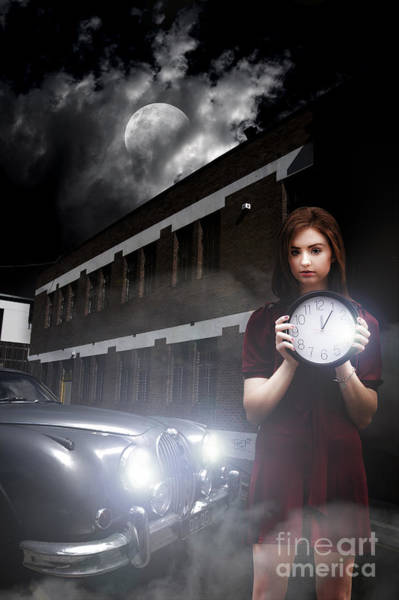 Silvery Photograph - Woman Holding Clock by Jorgo Photography - Wall Art Gallery