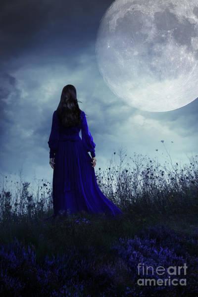 Photograph - Woman In Velvet Dress On Hill  by Sandra Cunningham