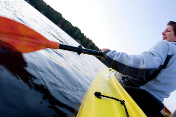 Ossipee Wall Art - Photograph - Woman Kayaking On Lake Ossipee by Justin Bailie