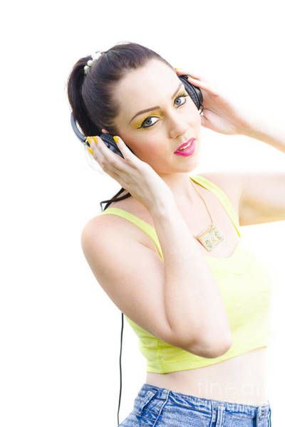 Lively Photograph - Woman Listening To Music by Jorgo Photography - Wall Art Gallery