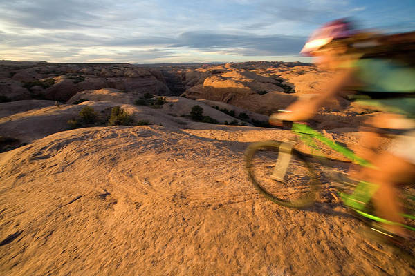 Horizontally Photograph - Woman Mountain Biking, Moab, Utah by Whit Richardson