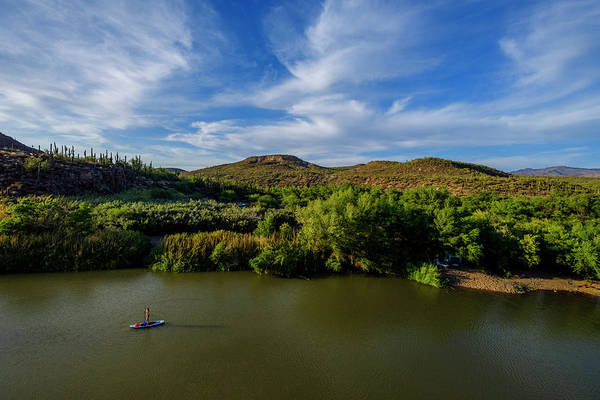 Standup Paddleboard Photograph - Woman Paddleboarding On Verde River by Kyle Ledeboer