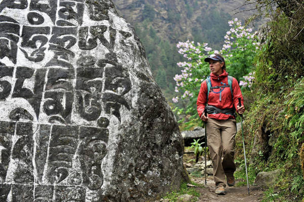 Khumbu Wall Art - Photograph - Woman Trekker In The Khumbu Region by HagePhoto