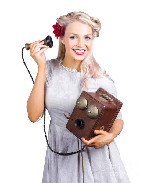 Modeling Photograph - Woman Using Antique Telephone by Jorgo Photography - Wall Art Gallery