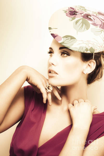 Millinery Photograph - Woman Wearing V-neck Blouse And Floral Hat by Jorgo Photography - Wall Art Gallery