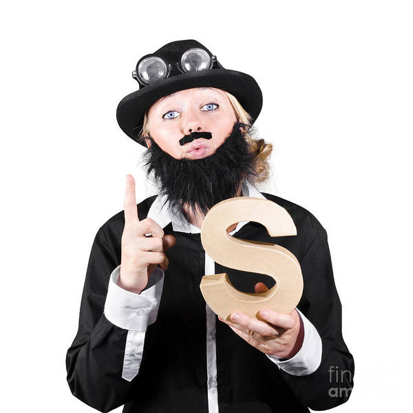 Gesturing Photograph - Woman With False Beard And Mustache Holding Alphabet S by Jorgo Photography - Wall Art Gallery
