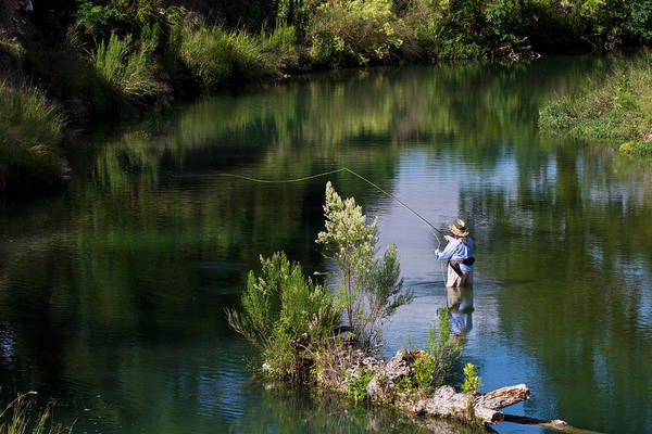 Fly Fishing Photograph - Women Fly-fishing In The South Llano by Larry Ditto