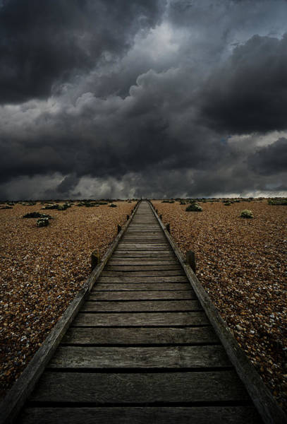 Outdoor Wall Art - Photograph - Wooden Path In The Wilderness. Dramatic Sky In The Background by Jaroslaw Blaminsky