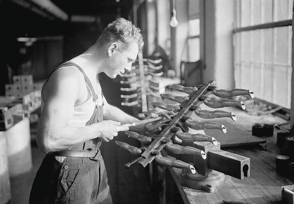 Doll Parts Photograph - Worker Building Rubber Doll Molds, 1936 by Stocktrek Images